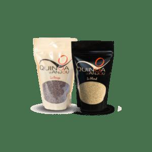 pac dégustation, sachet de quinoa blond et sachet de quinoa rouge